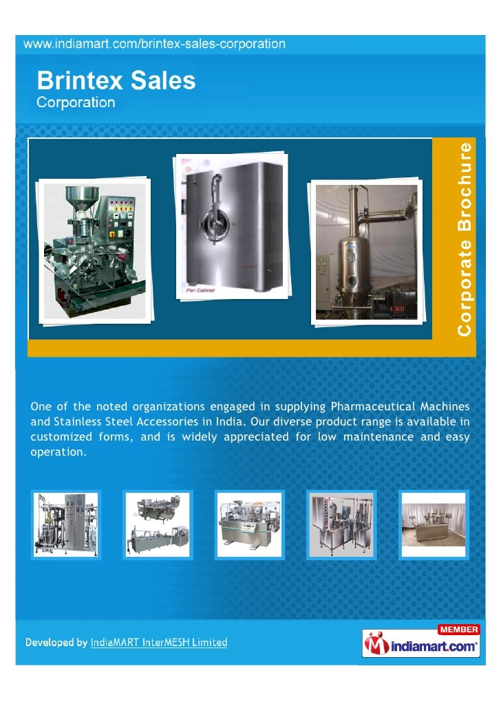 Brintex Sales Corporation, New Delhi, Pharmaceutical Machines