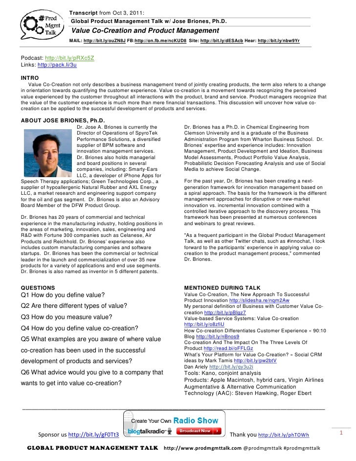 Transcript from Oct 3, 2011:                     Global Product Management Talk w/ Jose Briones, Ph.D.                    ...