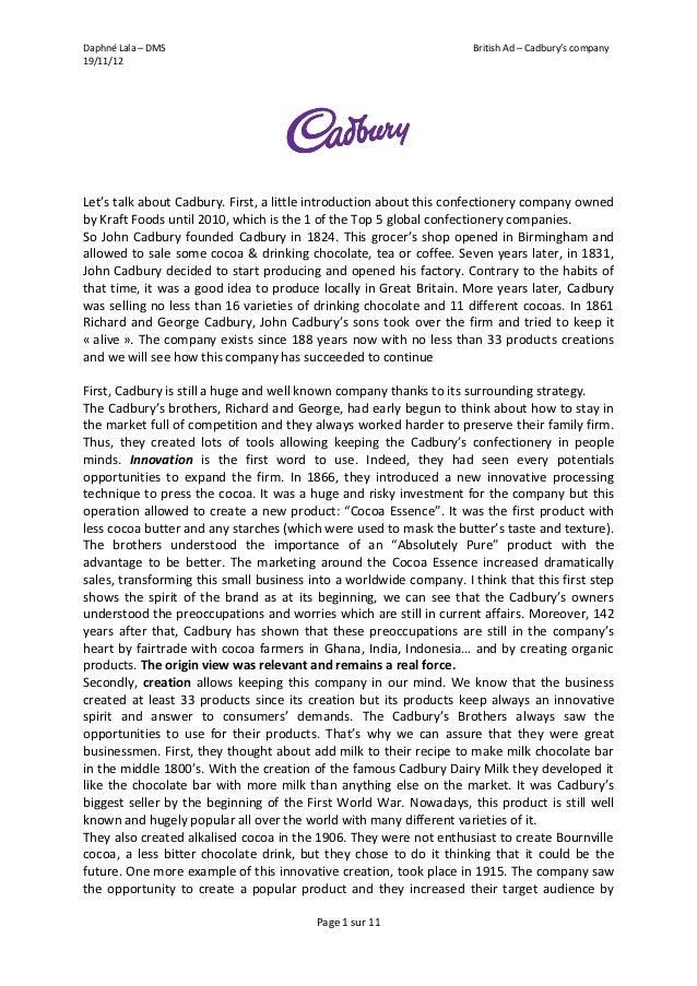 Daphné Lala – DMS                                                    British Ad – Cadbury's company19/11/12Let's talk abou...