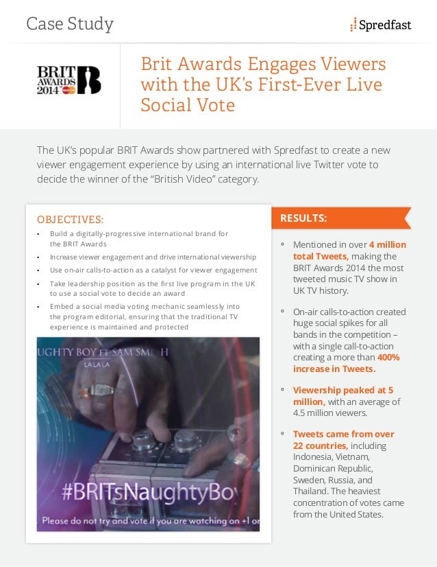 Case Study RESULTS: The UK's popular BRIT Awards show partnered with Spredfast to create a new viewer engagement experienc...