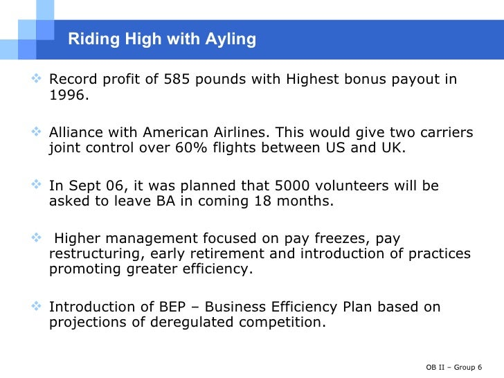 Successful changes to british airways by john king