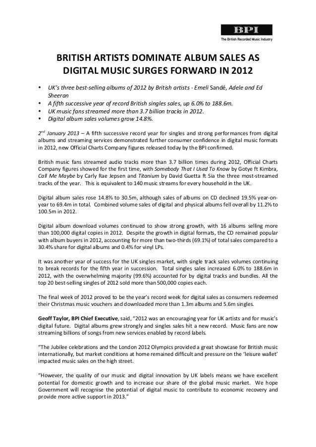 BRITISH  ARTISTS  DOMINATE  ALBUM  SALES  AS     DIGITAL  MUSIC  SURGES  FORWARD  IN  2012   ...