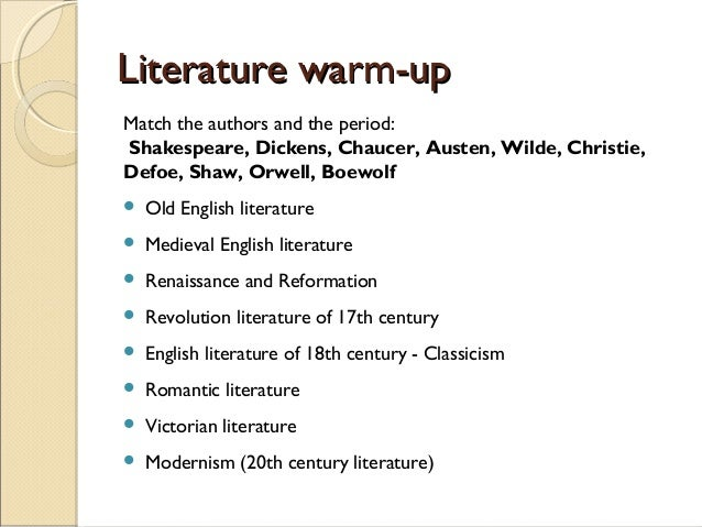 literature timeline Ages of english timeline from a west saxon dialect to a global phenomenon, from runes to rap, the development of english follows a fascinating trail.