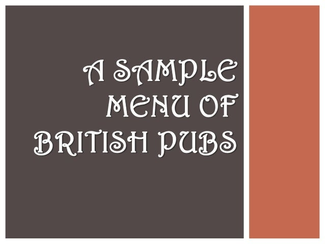 British menu and fish and chips (project  ready to order)