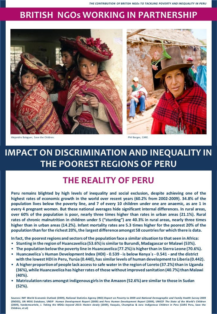 THE CONTRIBUTION OF BRITISH NGOs TO TACKLING POVERTY AND INEQUALITY IN PERU            BRITISH NGOs WORKING IN PARTNERSHIP...