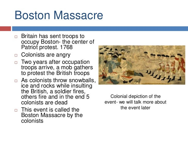 What was the British point of view on The Boston Massacre?