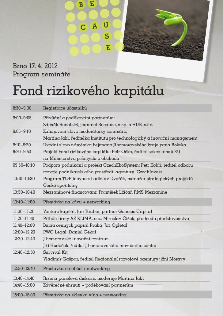 Seed fond konference - program Brno