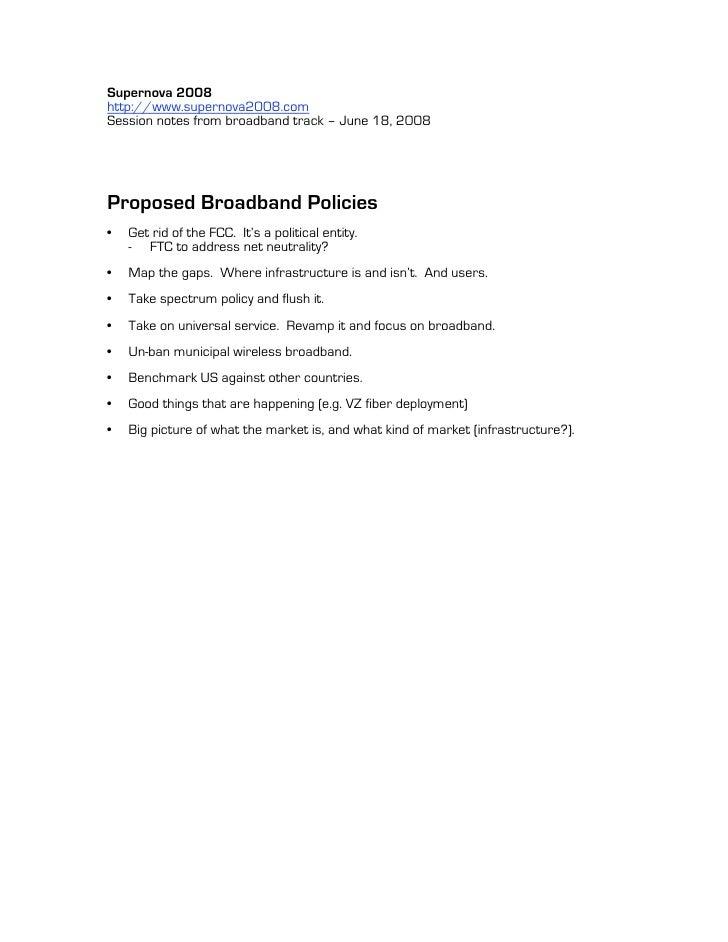 Broadband Policy Recommendations Supernova 2008