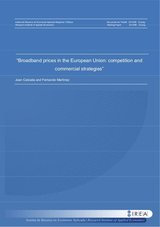 Broadband prices in the European union - competition and commercial strategies