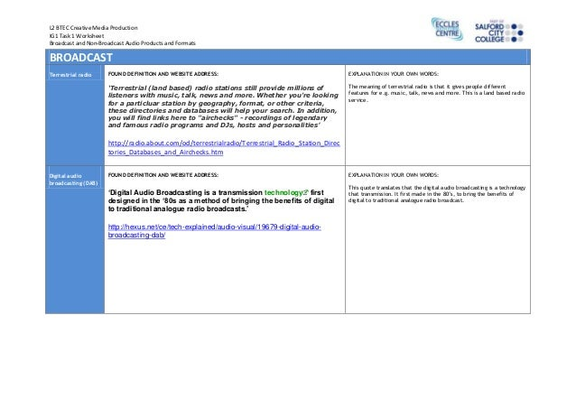 Broadcast and non-broadcast_audio_products_and_formats_worksheet_ig1_task_1