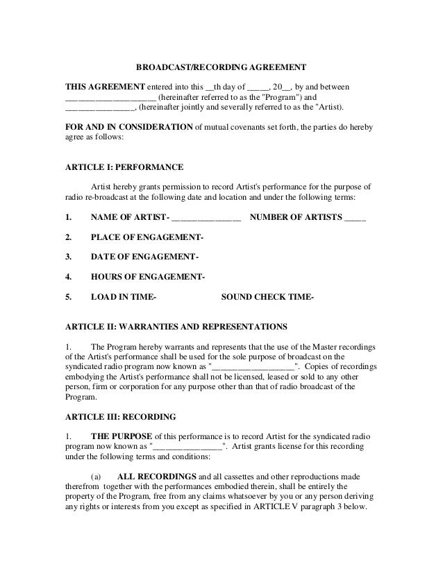 how to write a contract for a music video