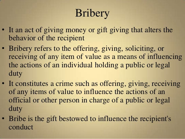 an introduction to the issue of corporate bribes Introduction the poverty  paying bribes to  although it is clearly a related topic, it should be addressed as a separate issue and given individual.