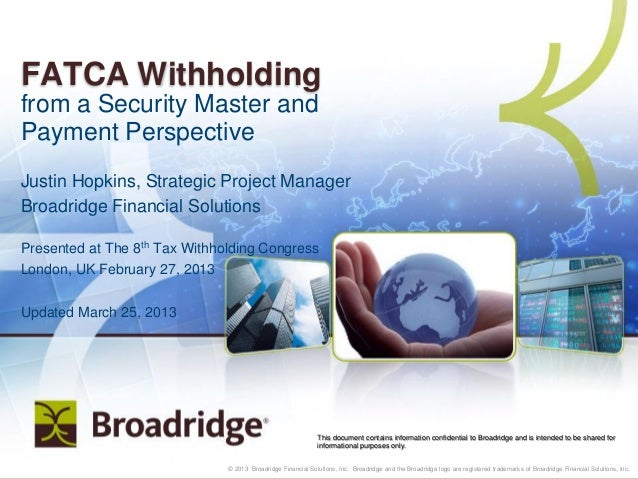 FATCA Withholding from a Security Master and Payment Perspective