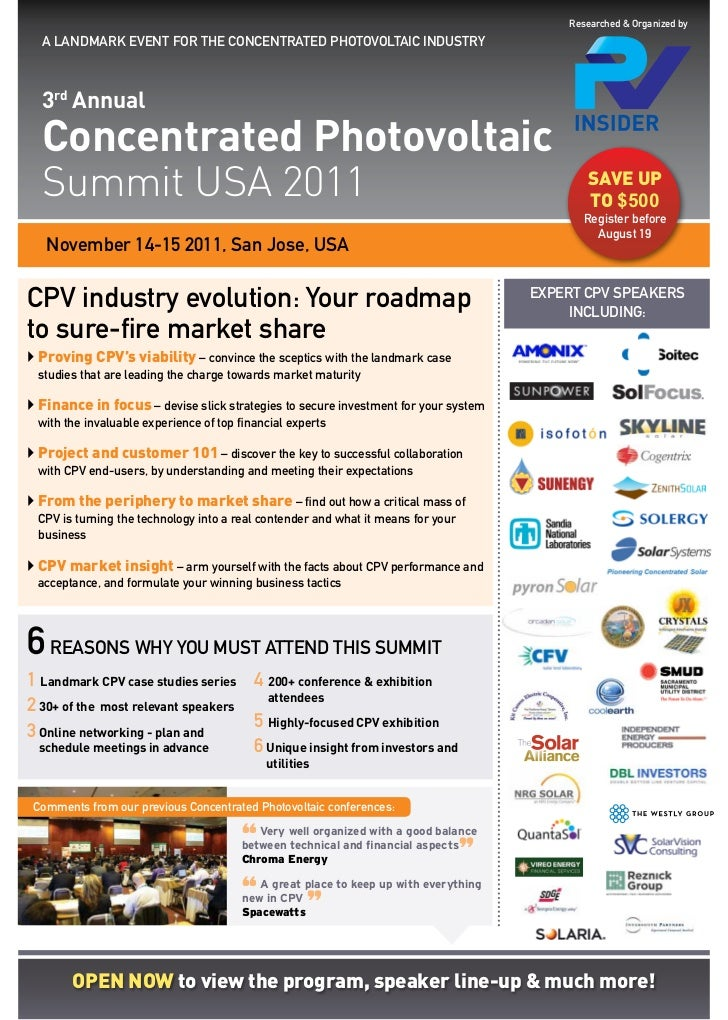 Researched & Organized by  A LANDMARK EVENT FOR THE CONCENTRATED PHOTOVOLTAIC INDUSTRY  3rd Annual  Concentrated Photovolt...