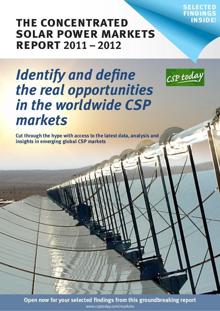 CSP Markets Report: New Edition 2011-2012