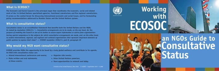 Working with ECOSOC - an NGOs guide to Consultative Status