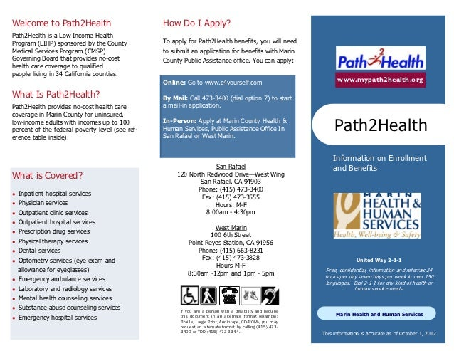 Welcome to Path2Health                           How Do I Apply?Path2Health is a Low Income HealthProgram (LIHP) sponsored...
