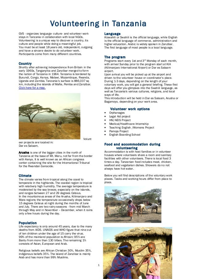 Volunteering in TanzaniaGVS - organizes language- culture- and volunteer workstays in Tanzania in collaboration with local...