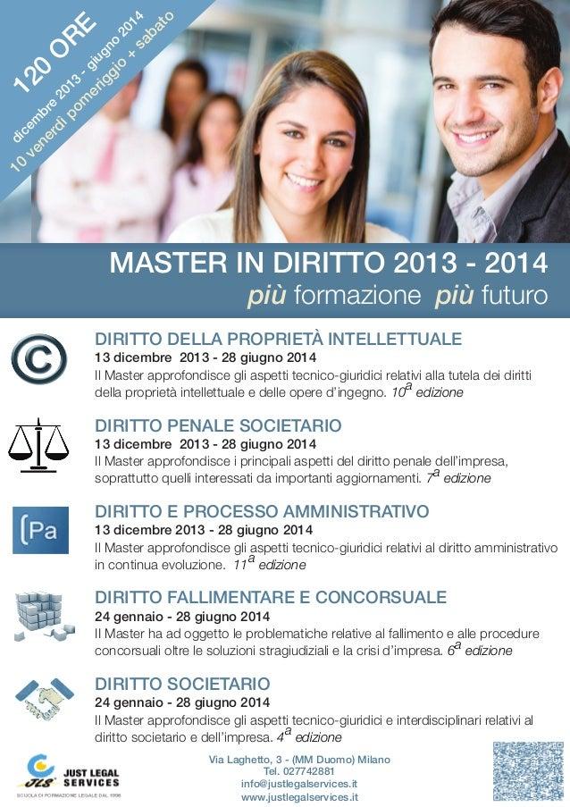 DIRITTO DELLA PROPRIETÀ INTELLETTUALE 13 dicembre 2013 - 28 giugno 2014 Il Master approfondisce gli aspetti tecnico-giurid...