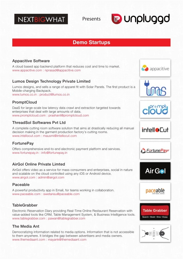 Startups that Launched / Demoed at UnPluggd, India's Biggest Startup Event