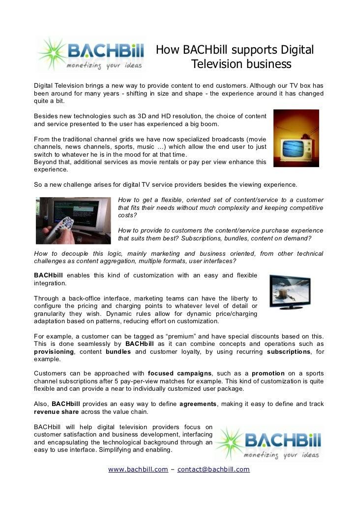 Bachbill - Brochure - Digital TV