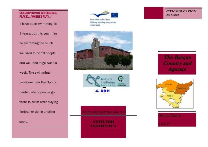 DESCRIPTION OF A BUILDING/                                      CIVIC EDUCATION                                           ...