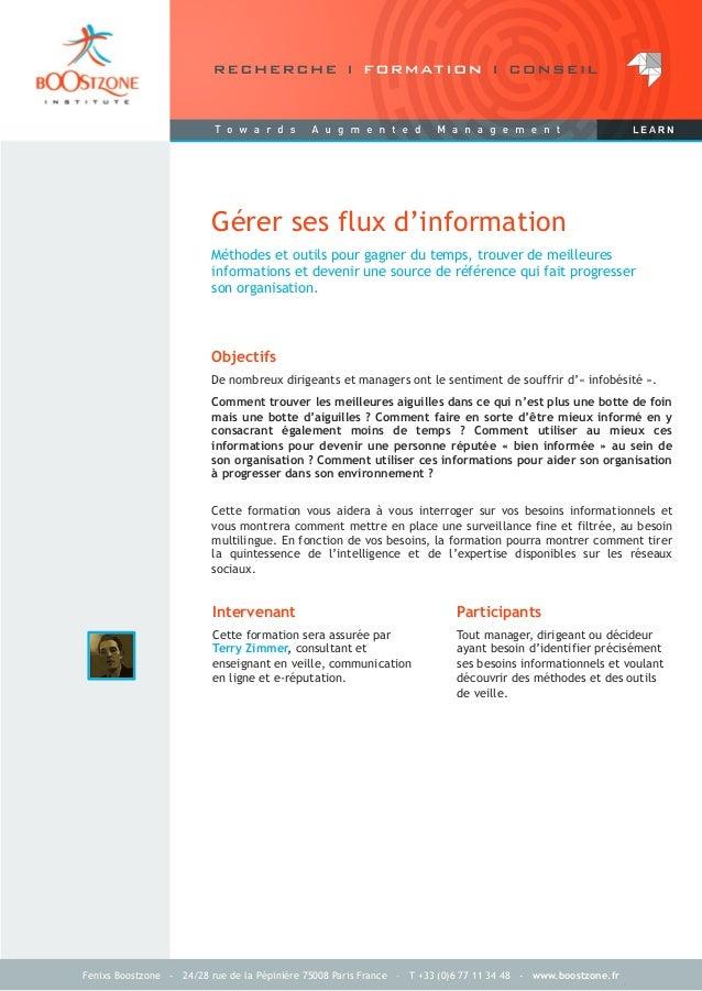 Fenixs Boostzone - 24/28 rue de la Pépinière 75008 Paris France – T +33 (0)6 77 11 34 48 - www.boostzone.frMéthodes et out...