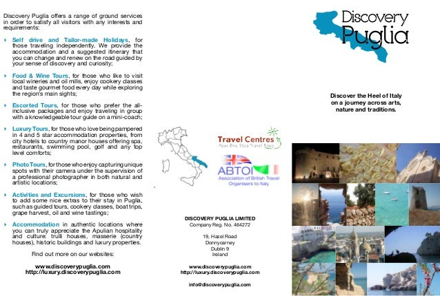 Discovery Puglia offers a range of ground servicesin order to satisfy all visitors with any interests andrequirements:▸▸ S...