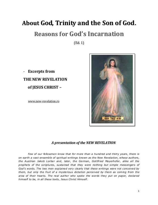 About God, Trinity and the Son of God.           Reasons f or God's Incarnation                                         (E...