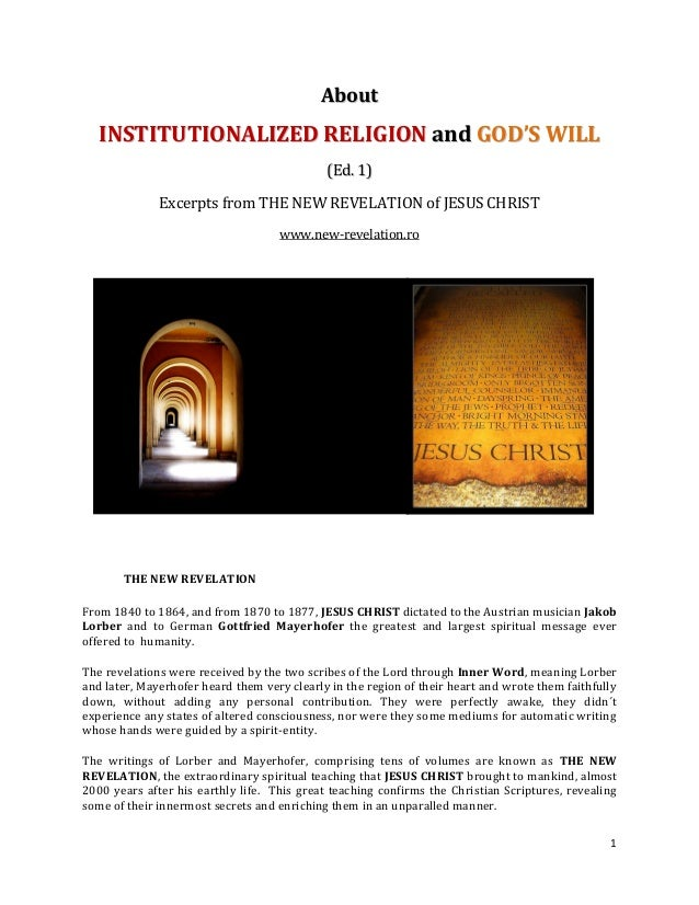 About   INSTITUTIONALIZED RELIGION and GOD'S WILL                                             (Ed. 1)              Excerpt...