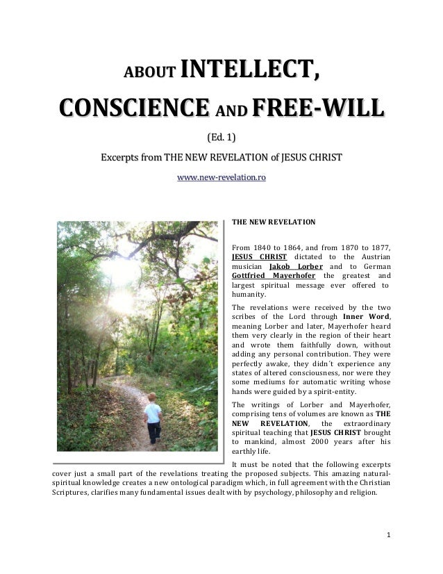 INTELLECT, ABOUT CONSCIENCE AND FREE-WILL                                            (Ed. 1)              Excerpts from TH...