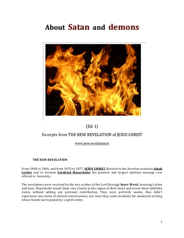 About Satan and demons                                             (Ed. 1)              Excerpts from THE NEW REVELATION o...