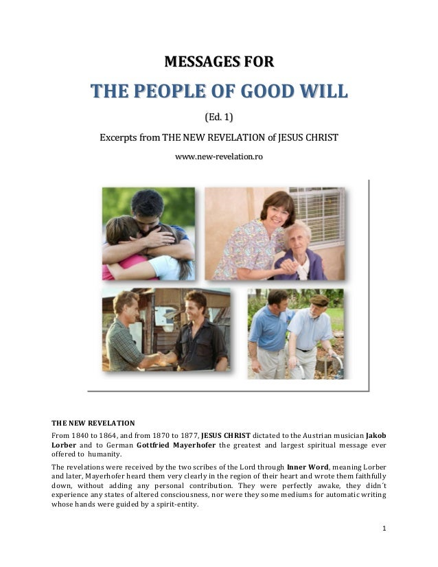 MESSAGES FOR           THE PEOPLE OF GOOD WILL                                             (Ed. 1)              Excerpts f...