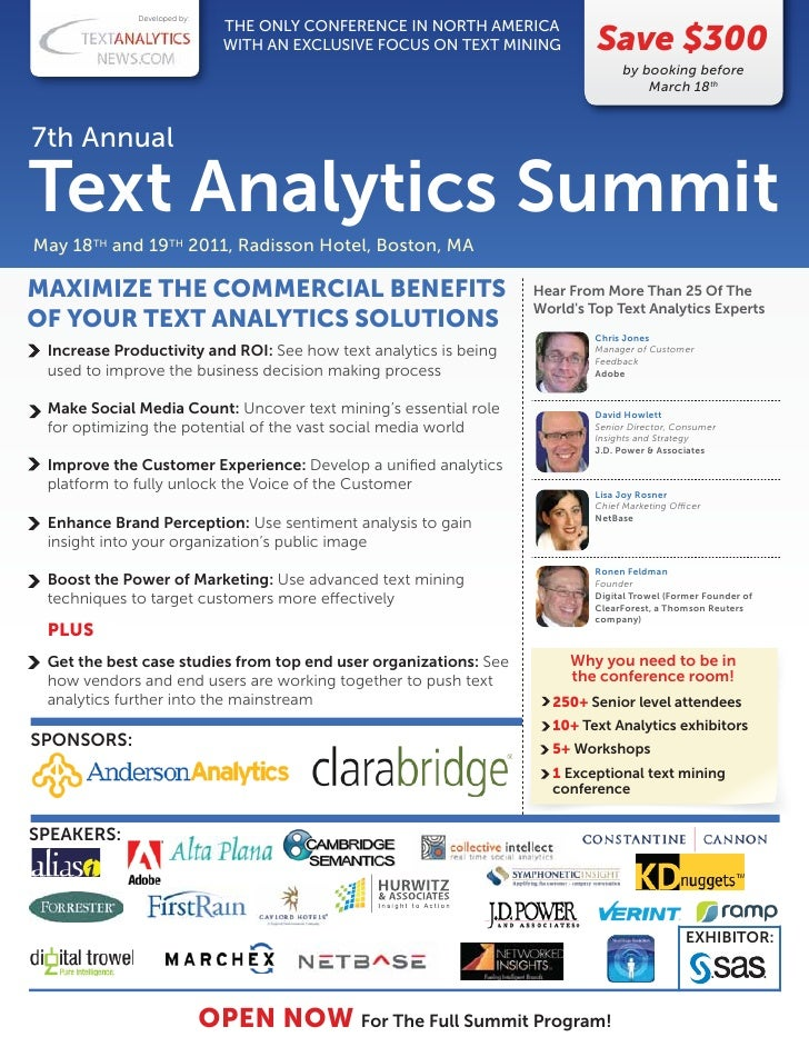 7th Annual Text Analytics Summit Brochure