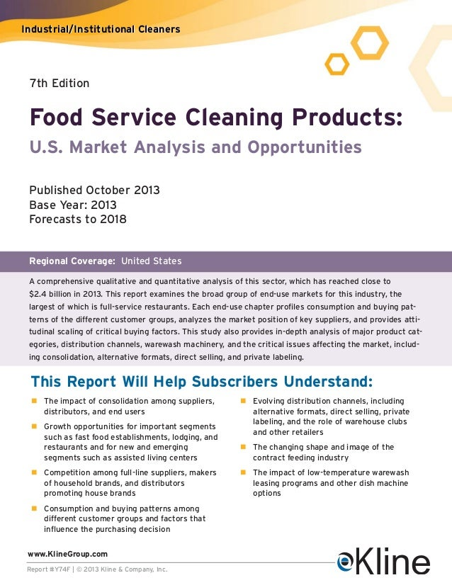 Industrial/Institutional Cleaners  7th Edition  Food Service Cleaning Products: U.S. Market Analysis and Opportunities Pub...