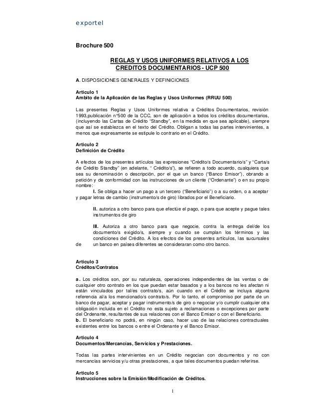 exportelBrochure 500                REGLAS Y USOS UNIFORMES RELATIVOS A LOS                 CREDITOS DOCUMENTARIOS - UCP 5...
