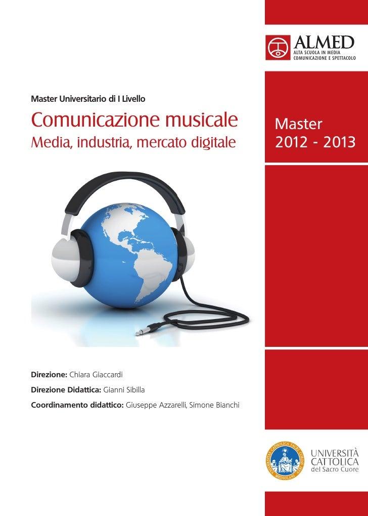 La brochure del Master in Comunicazione Musicale, edizione 2012-2013