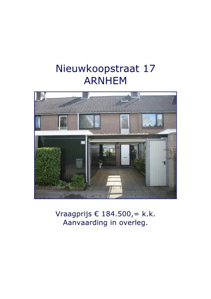 Brochure Arnhem, Nieuwkoopstraat 17