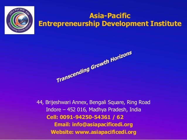 Brochure Asia-Pacific Entrepreneurship Development Institute