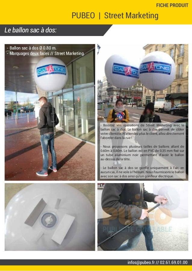 Le ballon sac à dos: PUBEO   Street Marketing - Ballon sac à dos Ø 0.80 m. - Marquages deux faces // Street Marketing. - B...