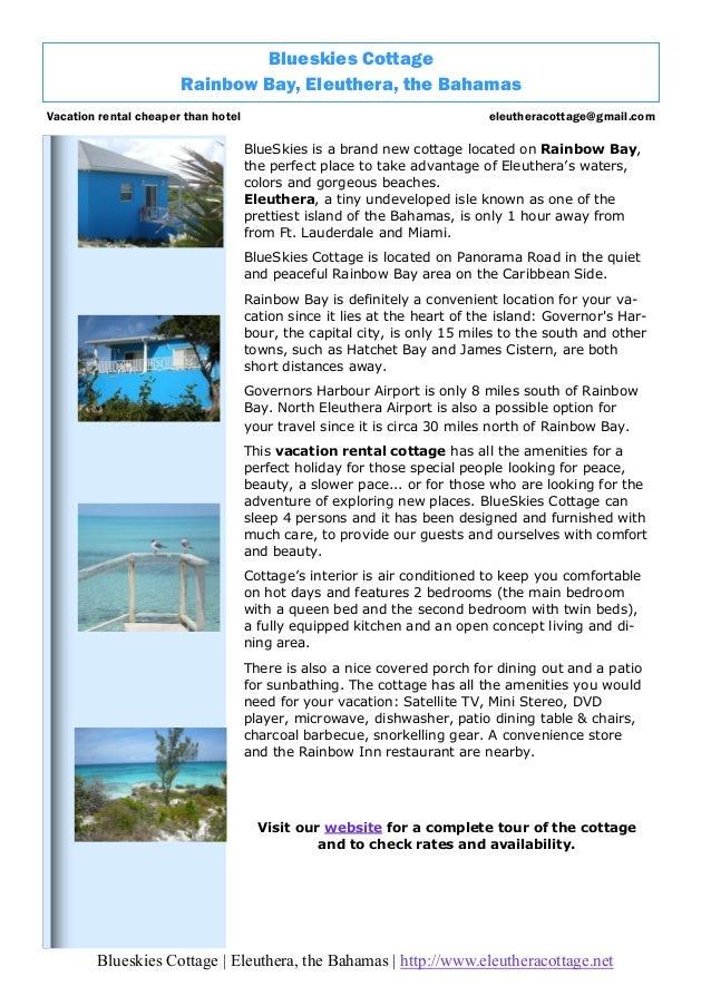 BlueSkies Cottage Brochure, Eleuthera, Bahamas