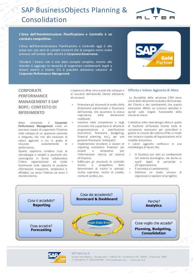ì SAP BusinessObjects Planning & Consolidation CORPORATE PERFORMANCE MANAGEMENT E SAP BOPC: CONTESTO DI RIFERIMENTO Altea ...
