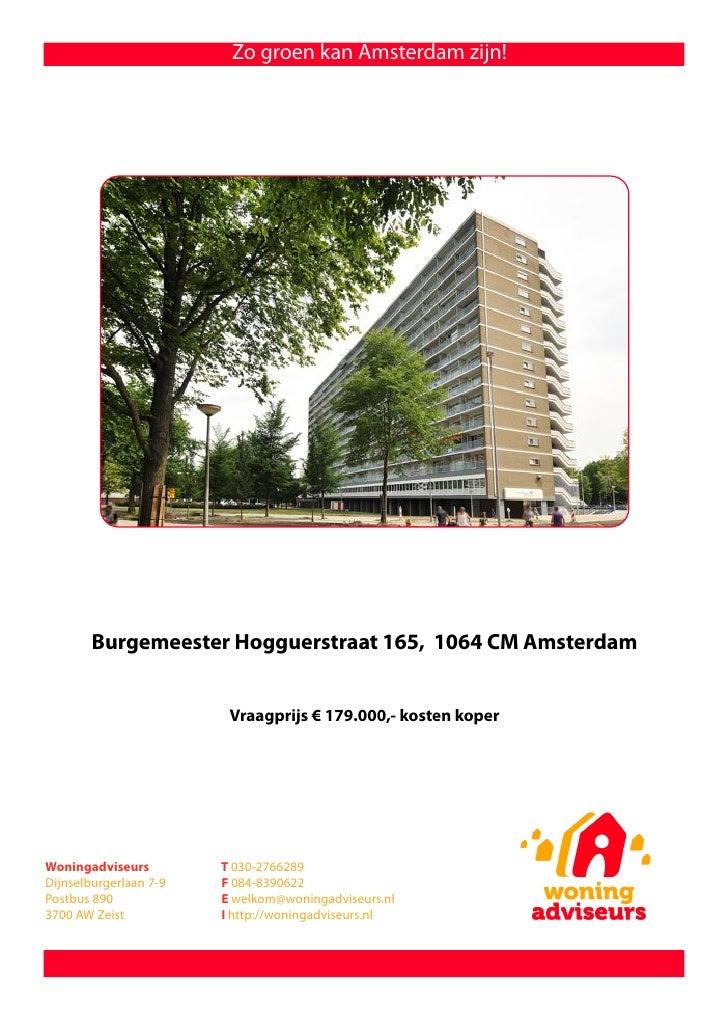 Brochure burgemeester hogguerstraat 165 te amsterdam