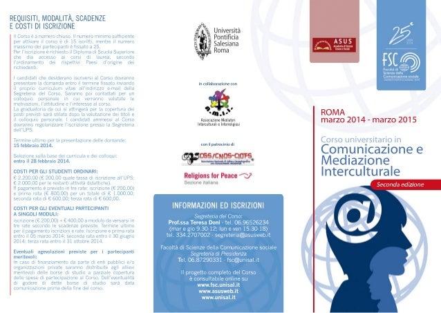 Corso universitario comunicazione e mediazione interculturale 2014_2015