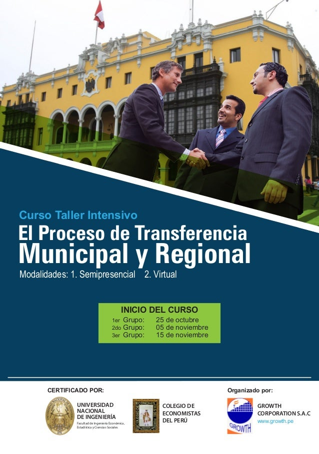 Curso Taller Intensivo  El Proceso de Transferencia  Municipal y Regional  Modalidades: 1. Semipresencial 2. Virtual  INIC...
