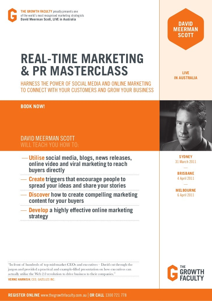 THE GROWTH FACULTY proudly presents one        of the world's most recognised marketing strategists        David Meerman S...