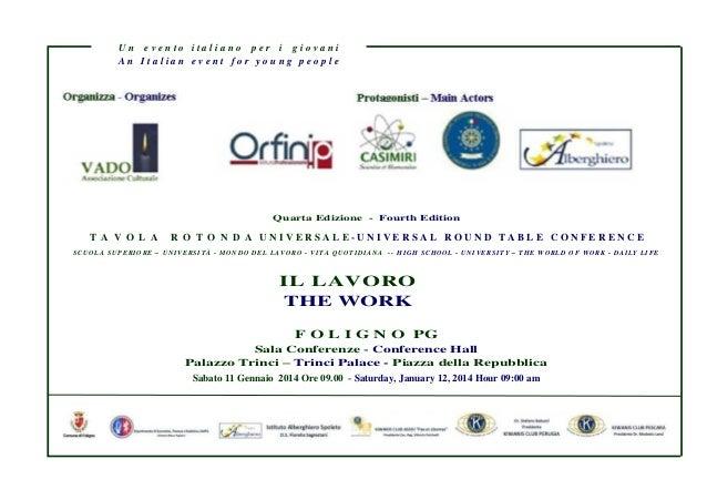 """Brochure DC Convegno """"Il Lavoro"""" – Foligno  Sab. 11 Gen. 2014"""