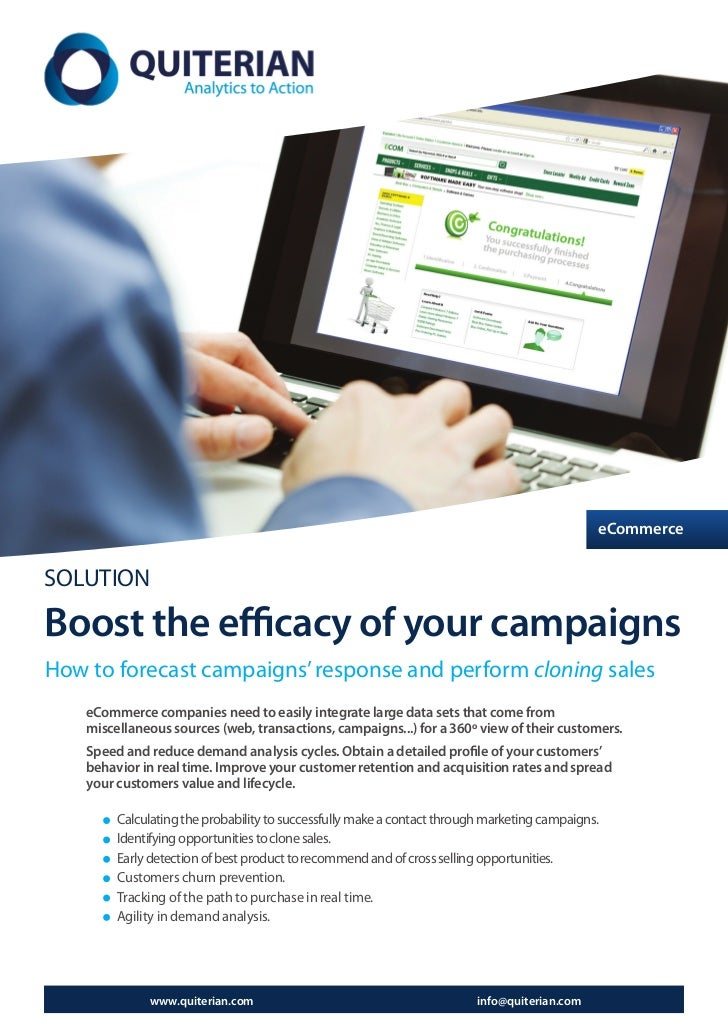eCommerceSOLUTIONBoost the efficacy of your campaignsHow to forecast campaigns' response and perform cloning sales    eCom...