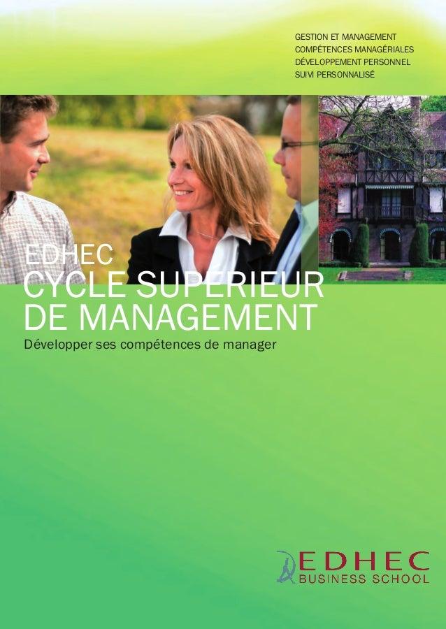 EDHEC-CSM-BAT:EDHEC CSM 2011 21/11/11 11:40 Page1  GESTION ET MANAGEMENT COMPÉTENCES MANAGÉRIALES DÉVELOPPEMENT PERSONNEL ...