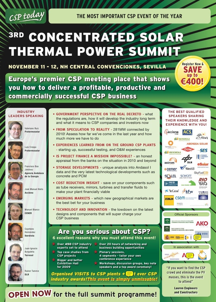 The mosT imporTanT Csp evenT of The year      ConCEntratEd Solar 3rd  thErmal PowEr Summit                                ...
